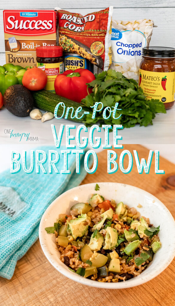 """Ingredients for One-Pot Veggie Burrito Bowl over completed dish, with white text """"one-pot veggie burrito bowl"""""""
