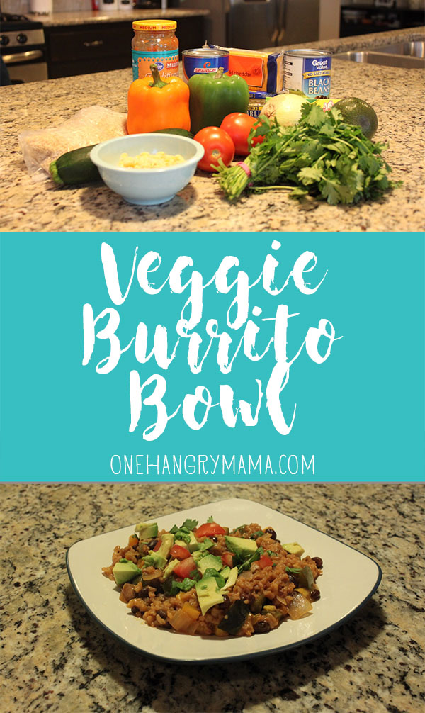 This Veggie Burrito Bowl is yummy, easy, and best of all -- comes together in ONE pan.