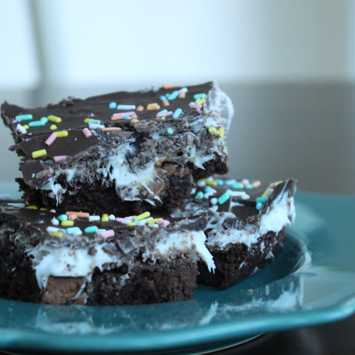 Cadbury Egg Marshmallow Brownies on a plate are the perfect Easter treat!