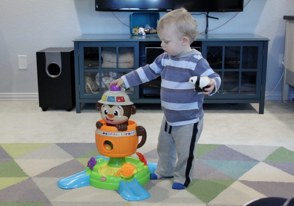 This Bright Starts Hide 'n Spin Monkey is a great gift for 12-18 month olds. Keep the toddlers busy!