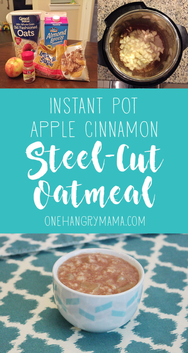 Easy toddler approved breakfast: Just 5 ingredients and 30 minutes is all it takes for delicious steel cut oats in the pressure cooker. #instantpot #breakfast #instantpotrecipes #breakfastideas #oatmeal #applecinnamon #toddlerfood #toddlermeals