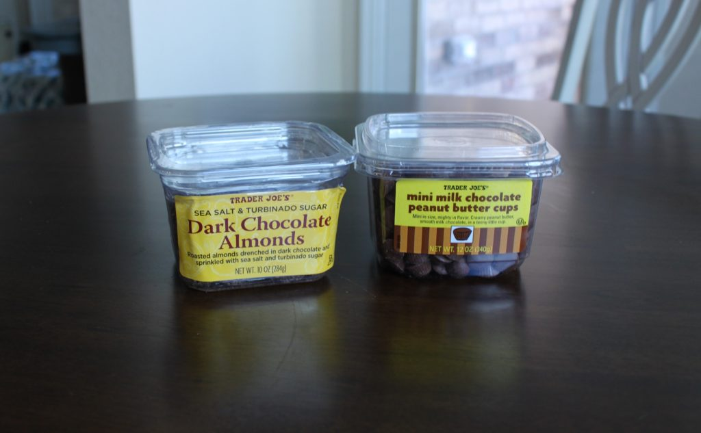 Trader Joe's Snacks: Dark Chocolate Almonds and Mini Peanut Butter Cups