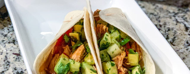 Instant Pot Honey BBQ Chicken Tacos + Pineapple Avocado Salsa