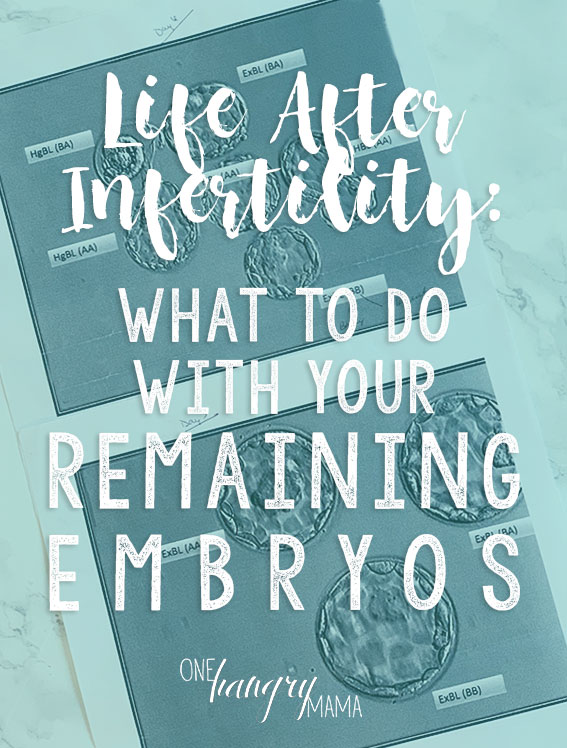 Frozen embryos are a blessing for many infertile couples going through the IVF process, but what about when your family is complete? What do you do with your frozen embryos? This is the unexpected aftermath of infertility.