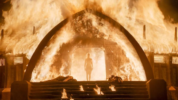 Game of Thrones - Daenerys Targaryen walking out of flaming building