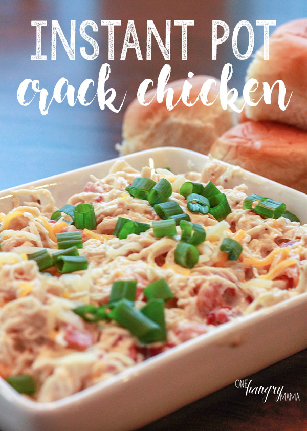 Creamy Bacon Ranch Instant Pot Crack Chicken is the ultimate family friendly recipe! It takes less than 45 minutes, beginning to end, all in one pot, and is a major family-pleaser. Even toddlers will love it!