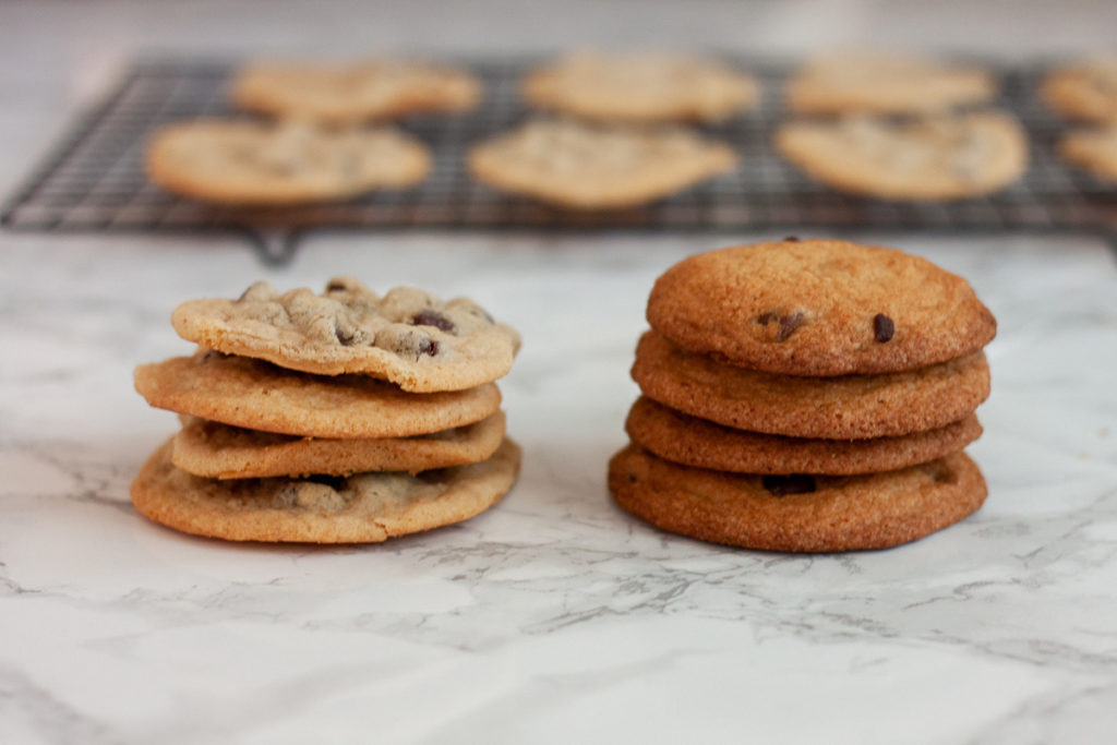One easy tip for making PERFECT chocolate chip cookies is to let your dough rest in the fridge for at least 30 minutes before baking. Just look at the difference in these two cookies!