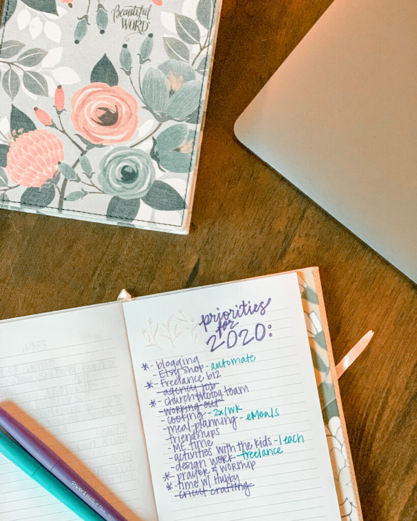 A great new years resolution for moms is BALANCE. Jotting down priorities for the year in a notebook is an easy step towards finding balance for moms.