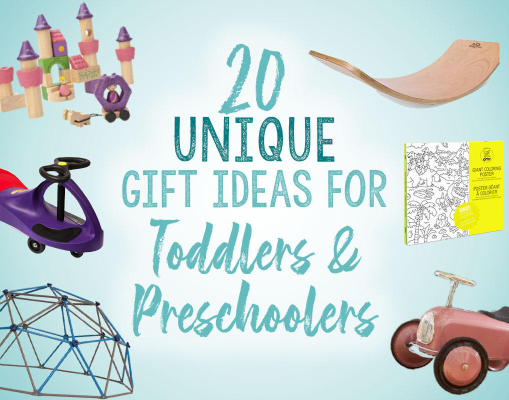 These 20 gifts ideas for toddlers and preschoolers are unique, fun and NOT annoying toys. Great for Christmas and birthdays!