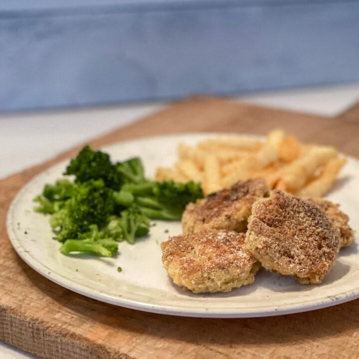Ritz Cracker Salmon Patties on a dinner plate