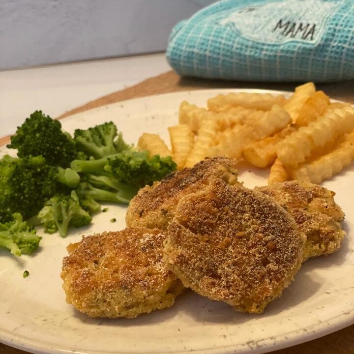 Dinner plate with Ritz Cracker Salmon Patties