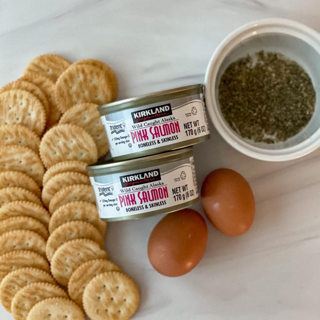 Overhead view of Ritz Cracker Salmon Patties ingredients