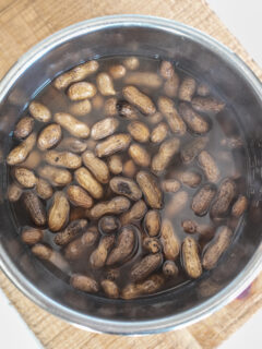 Pot of steaming, freshly cooked Instant Pot Boiled Peanuts