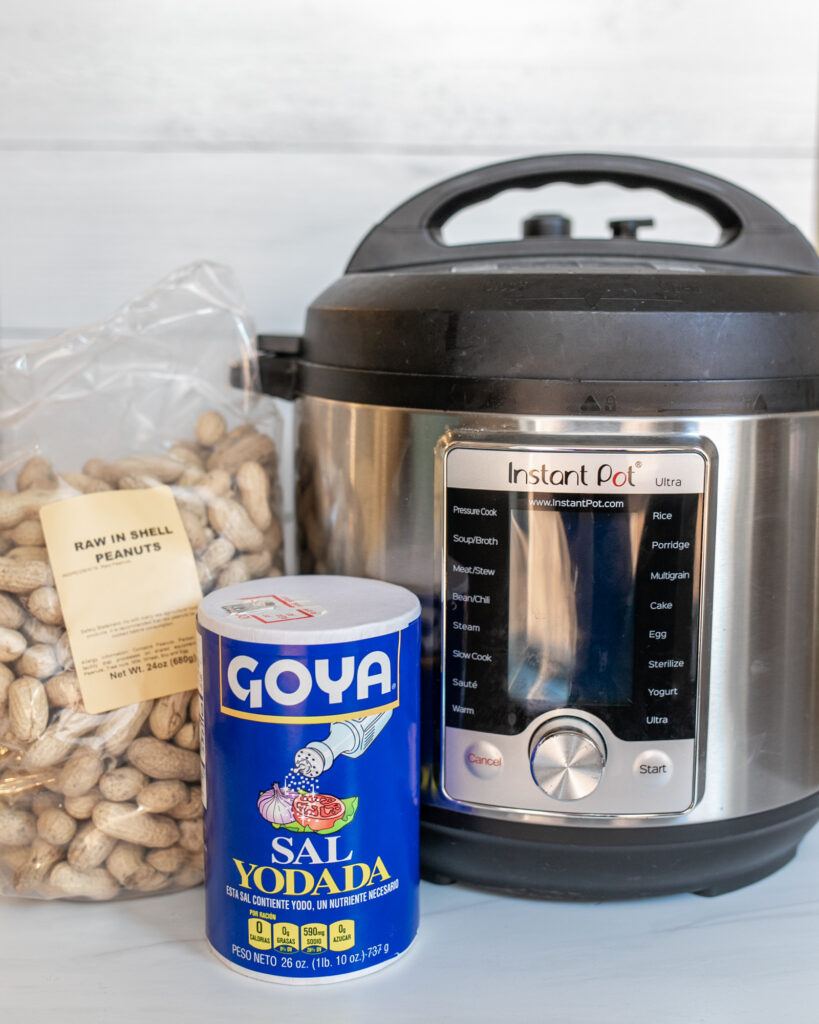 Raw peanuts, salt, and Instant Pot –all you need to make Instant Pot Boiled Peanuts!