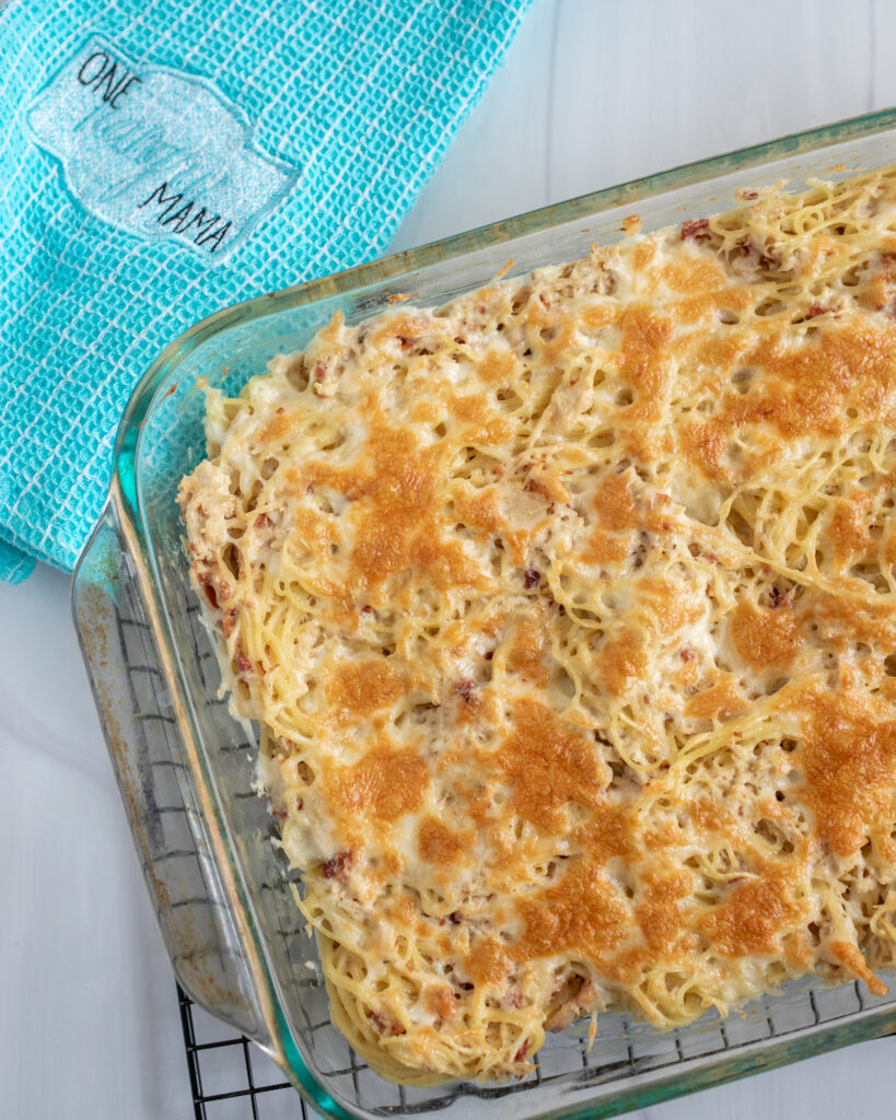 Overhead shot of Instant Pot Crack Chicken Pasta