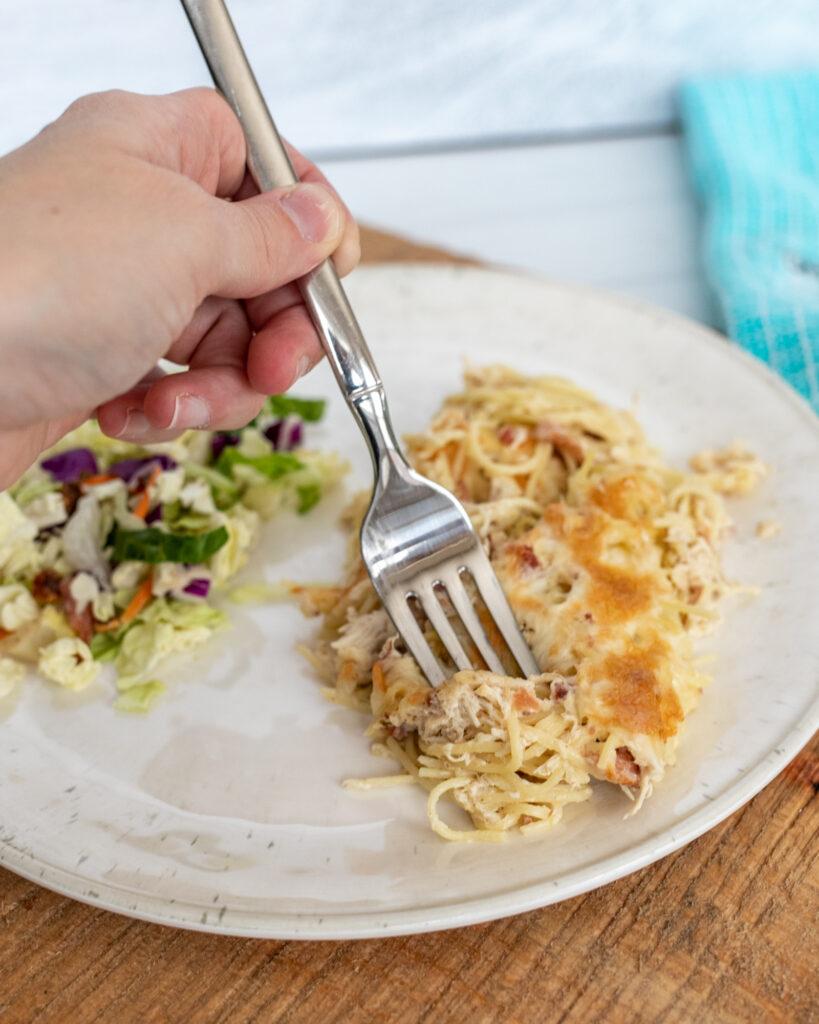 Fork eating Instant Pot Crack Chicken Pasta