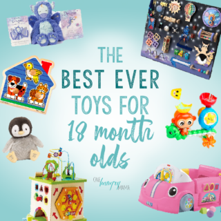 Graphic featuring images of multiple toys for 18-month-olds